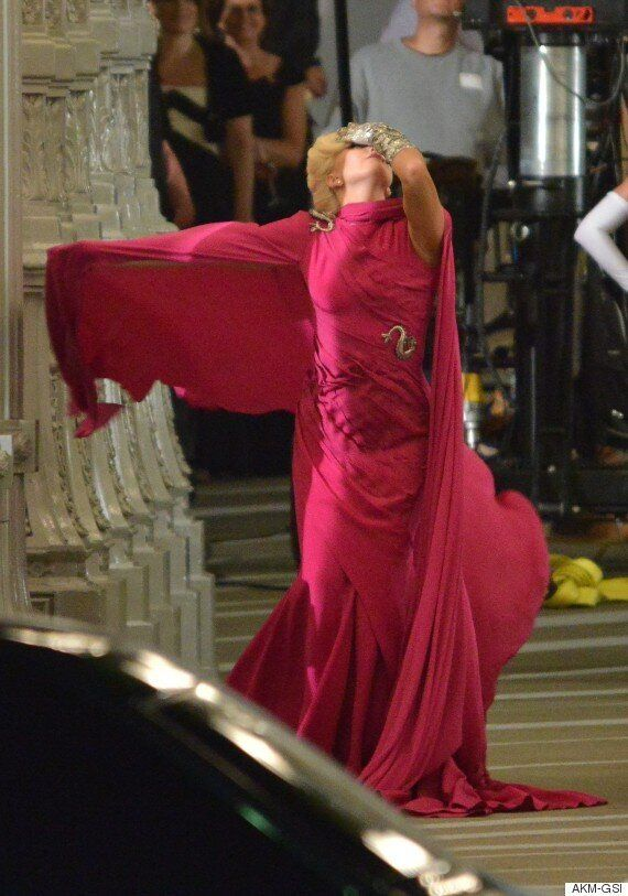 Lady Gaga Films American Horror Story Hotel In Gorgeous Fuchsia Dress Makes Us Cry Out Yassssssssss Pics Huffpost Uk