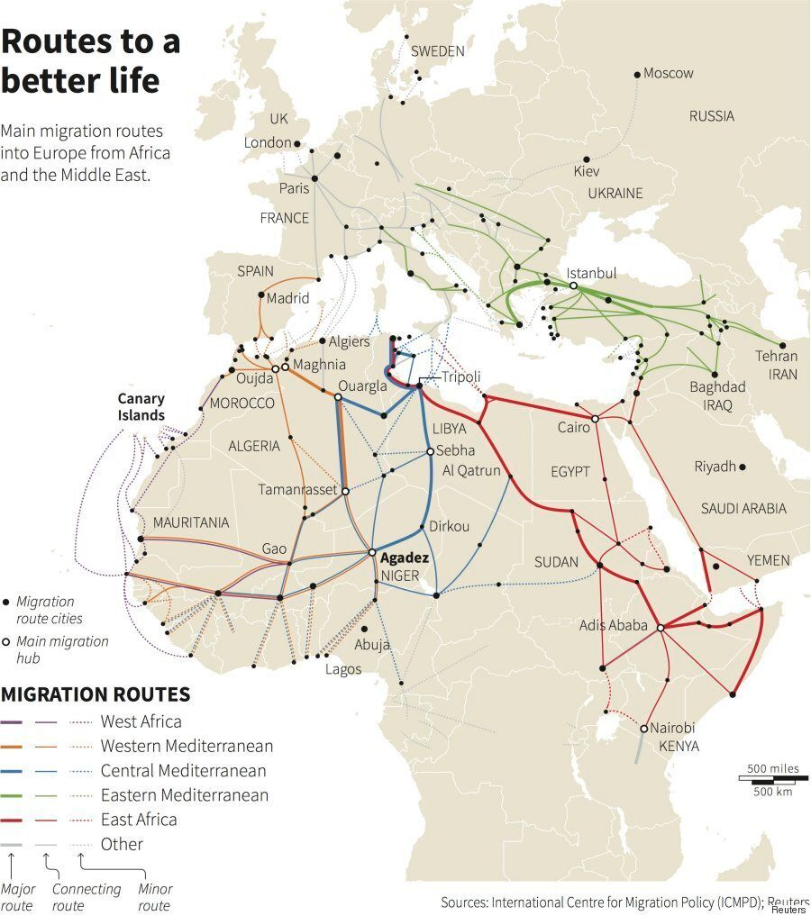 Mediterranean Migrant Crisis Map Shows Routes Used To Get To