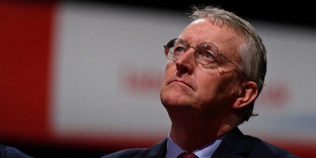 BRIGHTON, ENGLAND - SEPTEMBER 30: Shadow Foreign Secretary Hilary Benn listens to a speech on 'Stronger,...