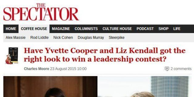 Charles Moore's Spectator Article On Yvette Cooper and Liz Kendall Is All Kinds Of
