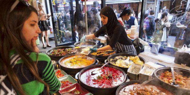 Busy food stalls, Brick Lane