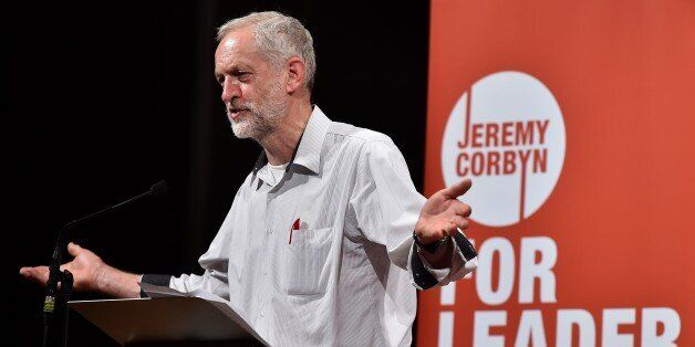 British Labour party leadership contender Jeremy Corbyn addresses a speech in west London, on August...