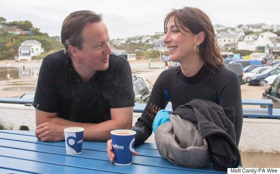 David Cameron's Familiar Look While On Holiday In Cornwall As Wife Samantha Dons A
