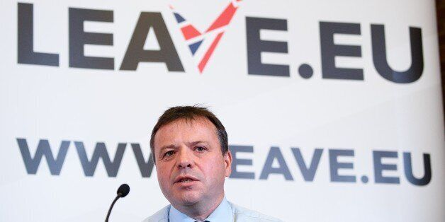 British businessman Arron Banks takes part in a press briefing by the 'Leave.EU' campaign group in central...