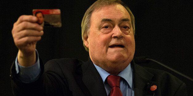 LONDON, ENGLAND - AUGUST 24: Labour peer John Prescott shows his Labour membership card as he speaks...
