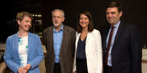 STEVENAGE, ENGLAND - AUGUST 25: Labour leadership candidates (L-R) Yvette Cooper, Jeremy Corbyn, Liz...