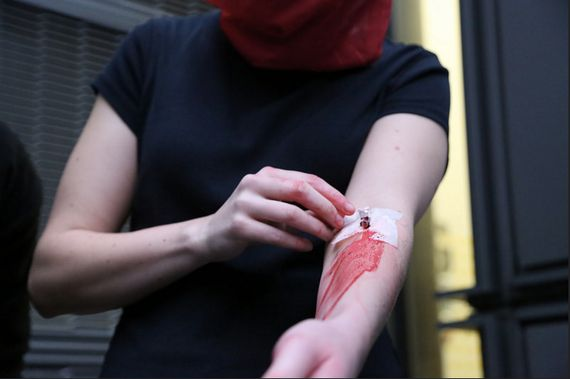 Rivers of Blood: LGBT Activists Pour Own Blood Into Home Office