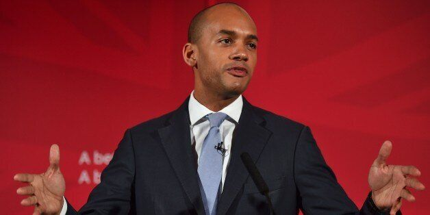 (FILES) In this April 9, 2015 file photo, British Shadow Business Secretary Chuka Umunna speaks during...
