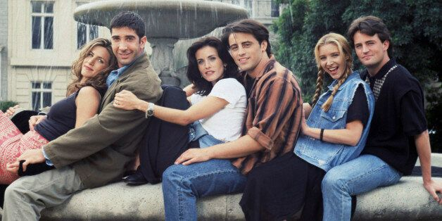 FRIENDS -- Season 1 -- Pictured: (l-r) Jennifer Aniston as Rachel Green, David Schwimmer as Ross Geller,...