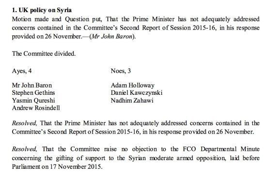 Syria Vote: Foreign Affairs Select Committee Only 'Failed' Cameron's Case For War After Two MPs Fell...