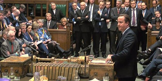 Prime Minister David Cameron makes a statement to MPs in the House of Commons where he is setting out...