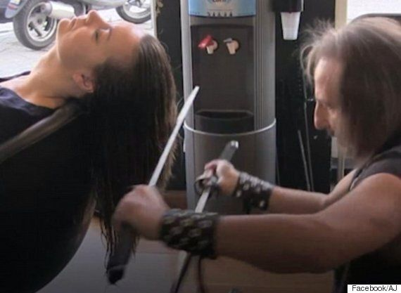 Real Life 'Edward Scissorhands' Hairdresser Gets The Perfect Cut With Swords And