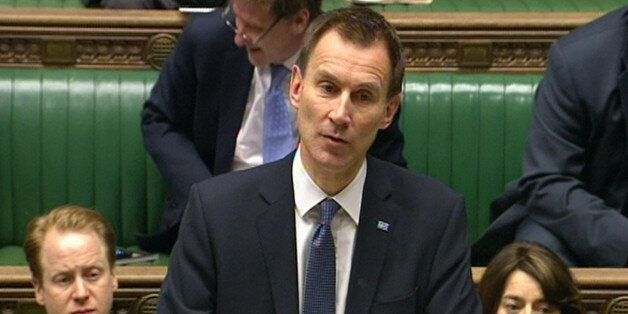 Health Secretary Jeremy Hunt delivers a statement to the House of Commons, London, outlining how talks...