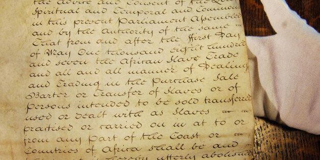 File photo dated 23/03/07 of the original 1806 Foreign Slave Trade Abolition Bill on show at the House...