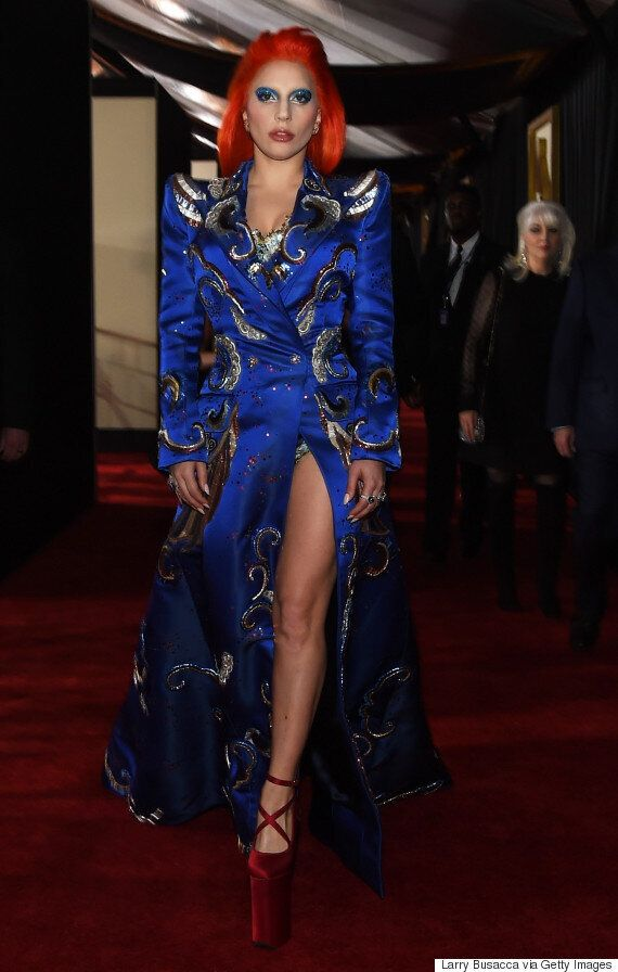 Grammy Awards 2016: Lady Gaga's Red Carpet Look Is A Tribute To David Bowie's Ziggy Stardust, And It's