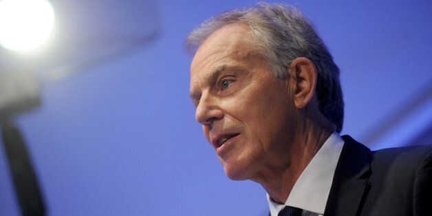Tony Blair delivers a speech at the National September 11 Memorial Museum Auditorium in New York City,...