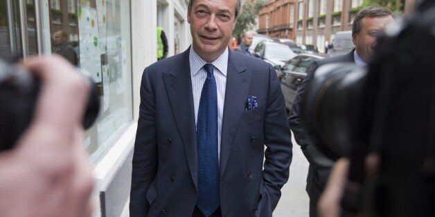 UK Independence Party (UKIP) leader Nigel Farage leaves the party's head office in central London on...