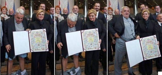 Croatian Rights Chief's Trousers Fall Down At Presidential Awards