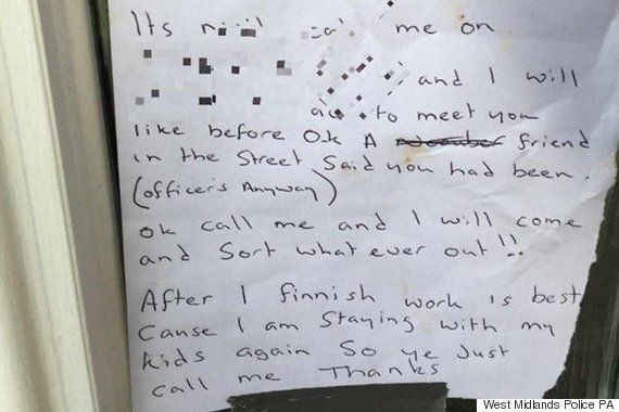 Just Call Me, Says 'Wanted Thief' In Note To West Midlands