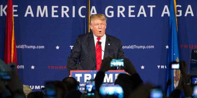 Republican presidential candidate Donald Trump speaks to the crowd at a Pearl Harbor Day Rally at the...