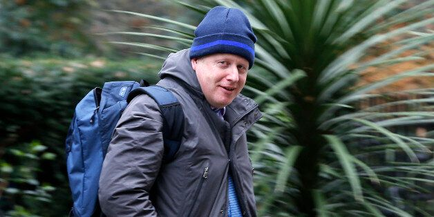 London's Mayor Boris Johnson leaves No10 Downing Street after talks with Britain's Prime Minister David...