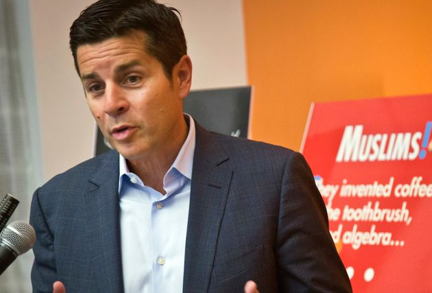 In this June 25, 2015 file photo, Muslim comedian Dean Obeidallah speaks at a news conference in New
