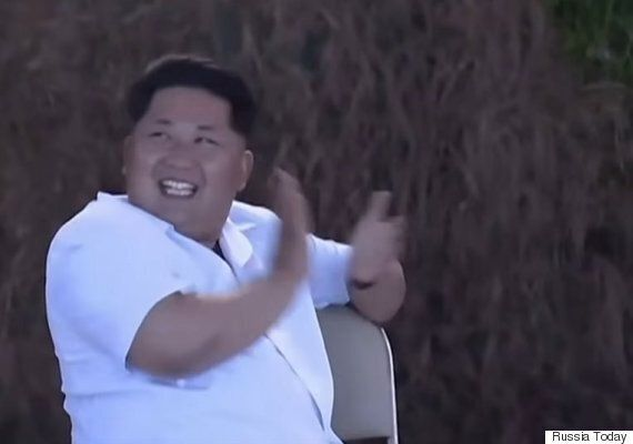 Kim Jong Un Giggles On North Korean TV Watching Military Drills And Missile