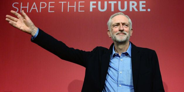 Jeremy Corbyn takes to the stage after he was announced as the Labour Party's new leader at a special...