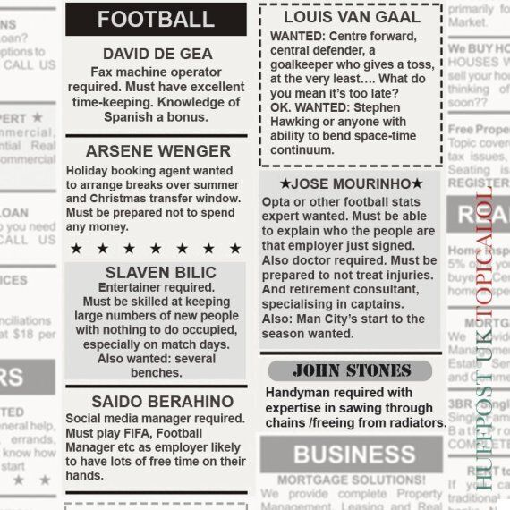Football Managers Resorting To Classified Ads After Deadline Day