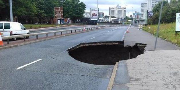 Another Manchester Sinkhole Opens Up Just Weeks After Huge Crater Appeared On Mancunian