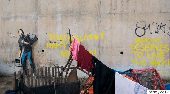 Banksy's Calais 'Jungle' Artwork Shows Apple Founder, Steve Jobs, Living With Syrian