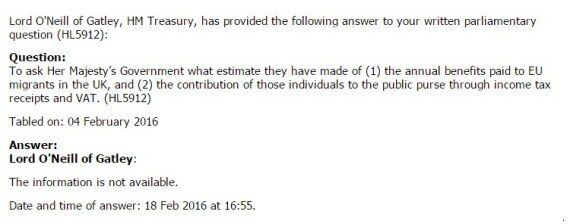 How Much Do EU Migrants Cost - Or Benefit - The UK? 'Information Not Available', Minister