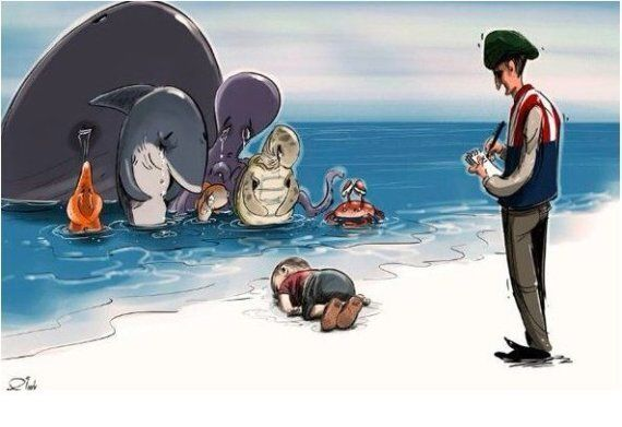 Alan Kurdi, Drowned Syrian 3-Year-Old, Mourned With Poignant Cartoons Using 'Humanity Washed Ashore'