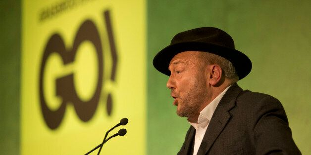 Unannounced mystery guest speaker British politician George Galloway makes a speech at a rally held by...