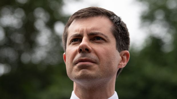 US Democratic presidential hopeful Pete Buttigieg attends the Repairers of the Breach for a Moral Witness Wednesday rally in Washington, DC, on June 12, 2019. (Photo by NICHOLAS KAMM / AFP)        (Photo credit should read NICHOLAS KAMM/AFP/Getty Images)