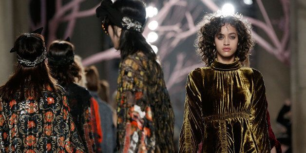 LONDON, ENGLAND - FEBRUARY 21: Models walk the runway at the Preen by Thornton Bregazzi show during London...