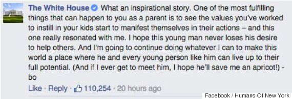 President Obama Praises Iranian Boy's Kindness On Humans Of New York Facebook