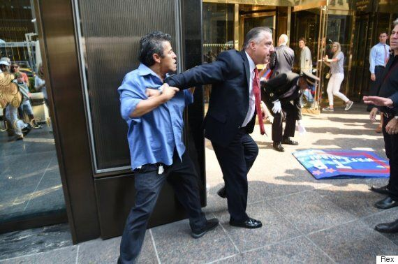 Donald Trump's Henchman Punches Mexican Efrain Galacia In The Face Outside Trump