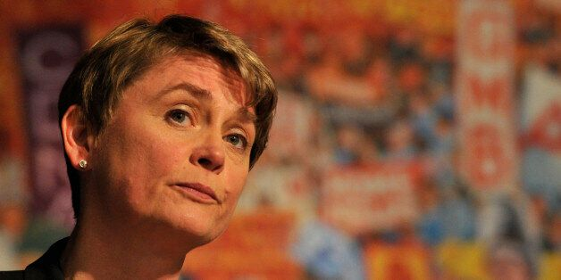 DUBLIN, IRELAND - JUNE 09: Labour leadership candidate Yvette Cooper on stage at the Labour leadership...