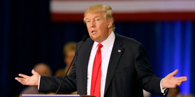 FILE - In this Aug. 25, 2015 file photo, Republican presidential candidate Donald Trump speak in Dubuque,...