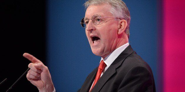 British Labour Party politician Hilary Benn addresses delegates in the main hall of Manchester Central,...