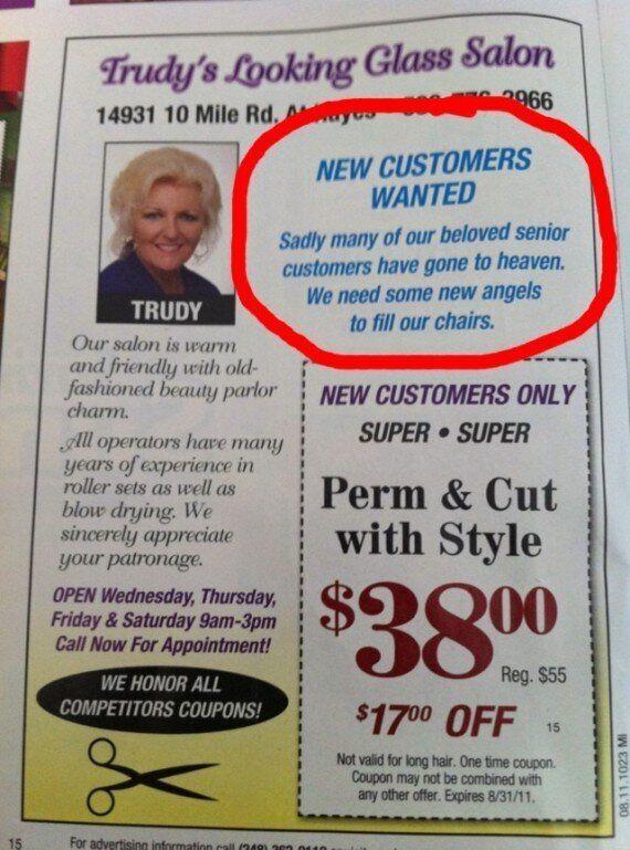 Beauty Salon Advert Has A Morbid
