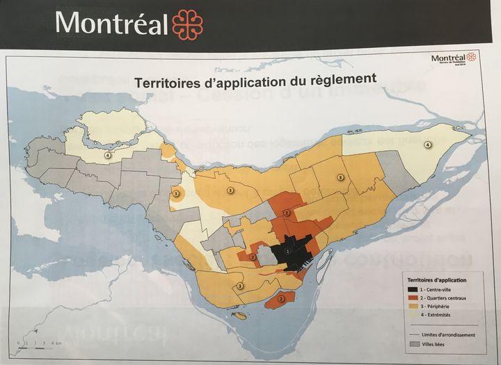Carte des zones d'application du nouveau règlement.