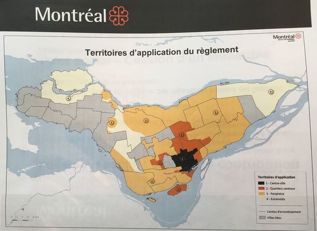 Carte des zones d'application du nouveau