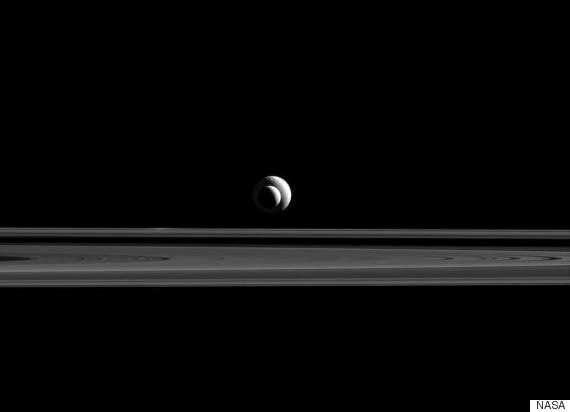 Cassini Captures Breathtaking Picture Of Enceladus and Tethys Above