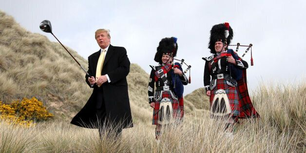 Donald Trump visiting the Menie Estate in Aberdeenshire before his golf resort was built, as the US presidential...
