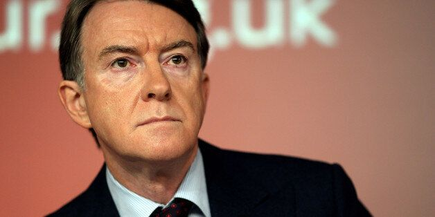 LONDON, ENGLAND - FEBRUARY 01: Lord Mandelson speaks during a press conference at Labour Headquarters...