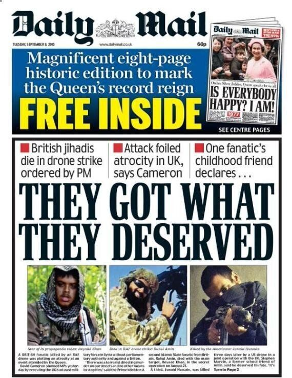 The Sun And Daily Mail Slammed For Glorifying Cameron's Drone Strikes Of British Jihadis In
