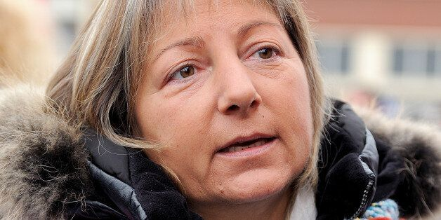 Mayor of Calais Natacha Bouchart attends in Calais, northern France, on November 2, 2013, a demonstration...