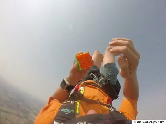 Watch This Guy Solve The Rubik's Cube While Free-Falling During A